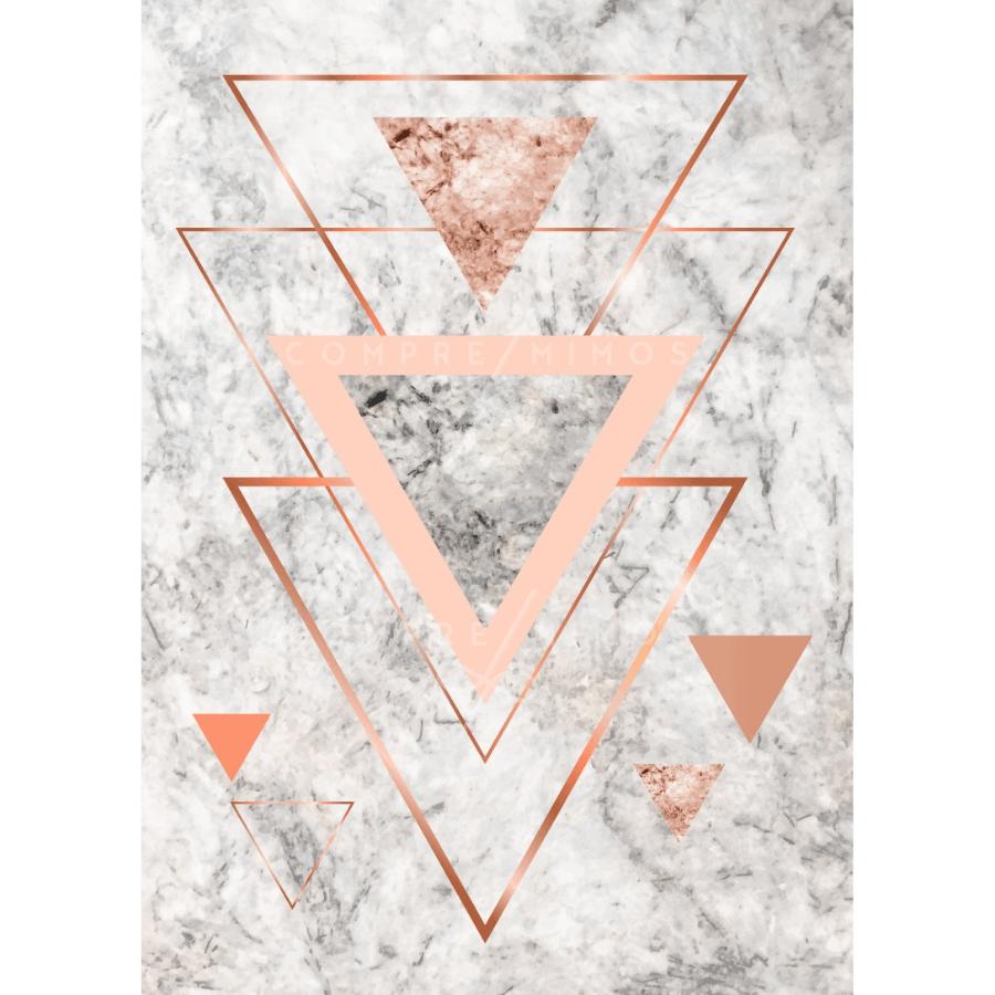 Quadro Triângulos Rose Gold Calacata