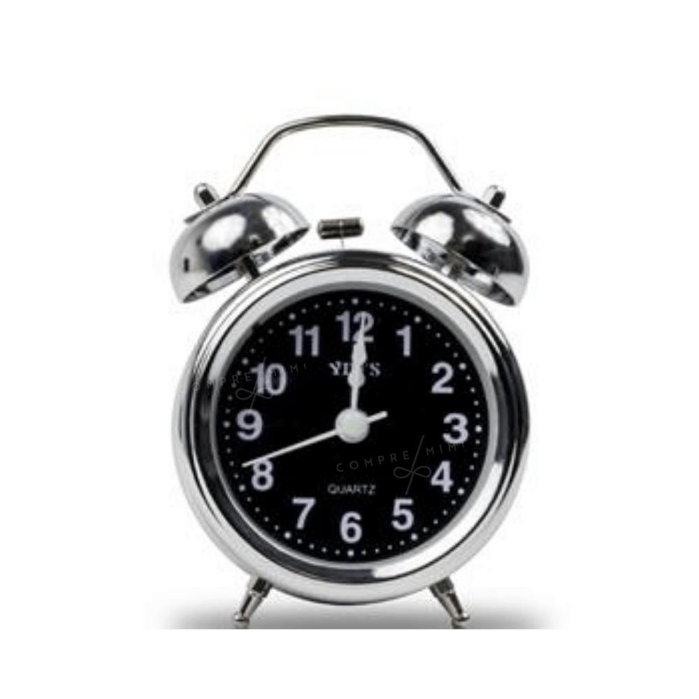 Relógio de Mesa Despertador Vintage - Metal Prata e interior Preto - 9x12cm