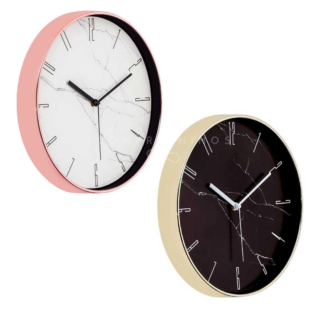 Relógio de Parede marmorizado - Dourado ou Rose Gold - 30x4cm