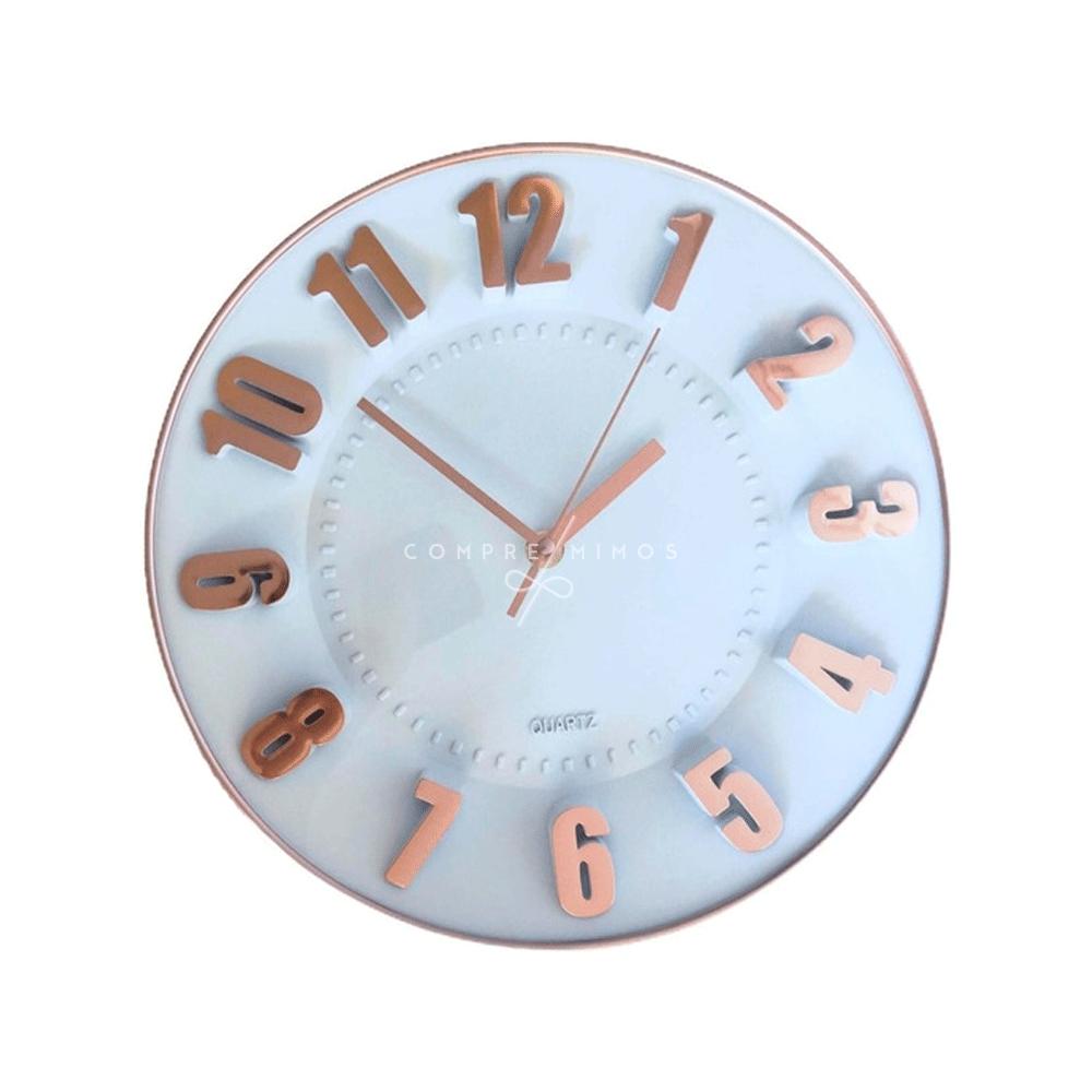 Relógio de Parede Rose Gold Com Números em Relevo - 28x3,8cm