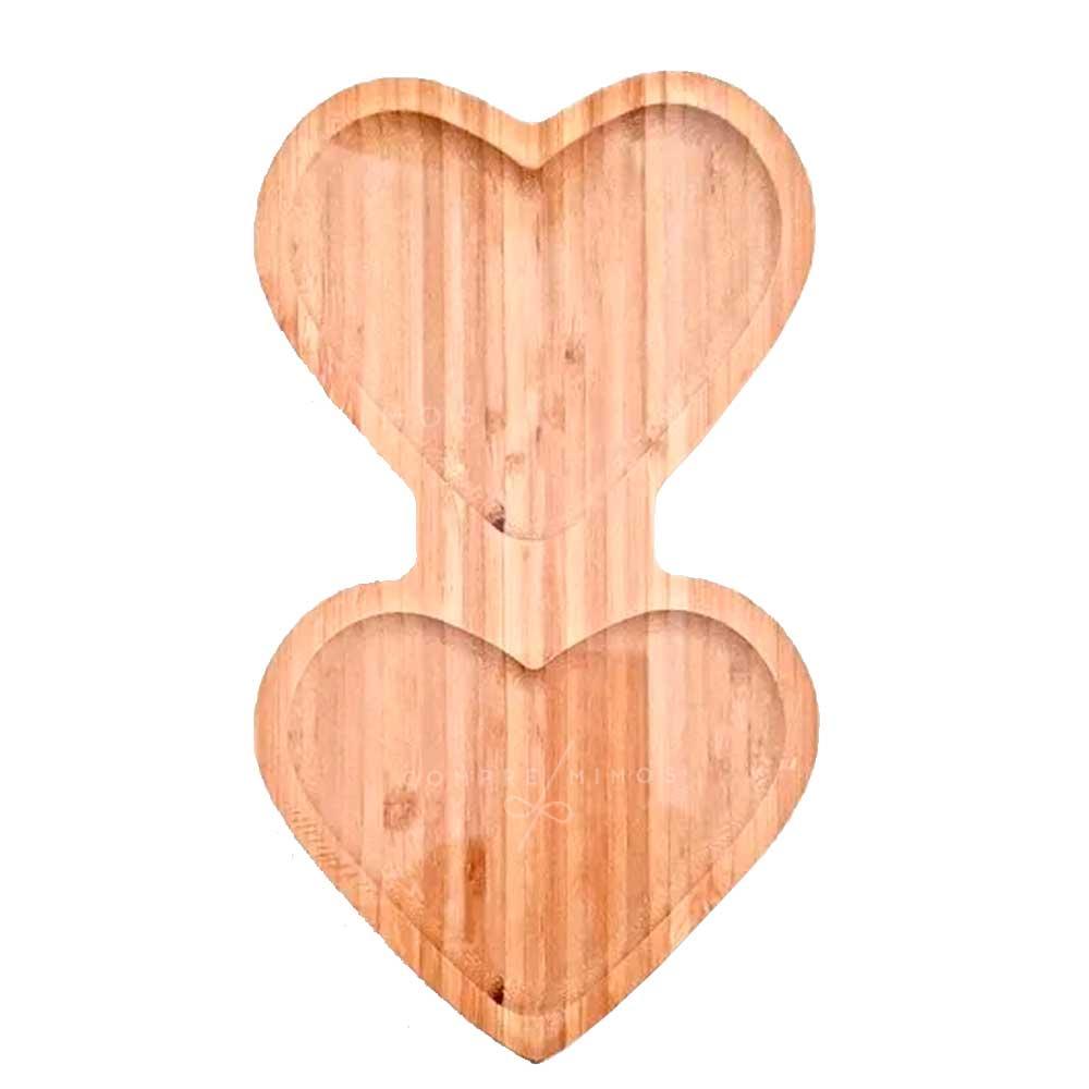 Tábua/Petisqueira de Coração Dupla em Bambu - 25x14cm