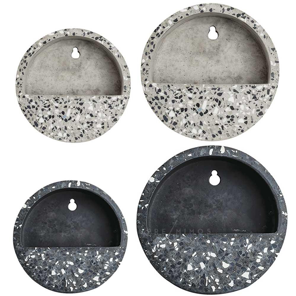 Vaso/Terrário de Parede em Cimento Granilite - Preto ou Areia - P e M
