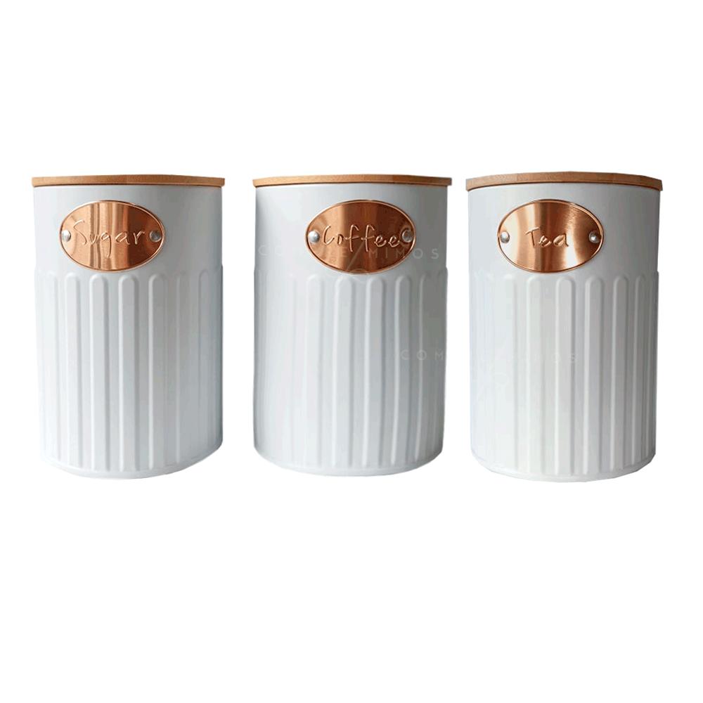 Trio Porta condimentos Redondo em Lata e Tampa de Bambu - Cinza ou Off White