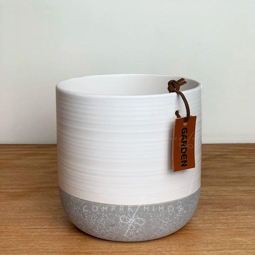 Vaso Cerâmica  Garden - Off-White com Cinza - Detalhe em Couro