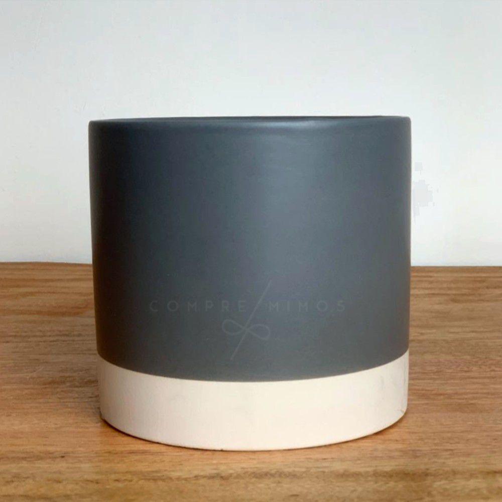 Vaso Concreto Cinza com Branco