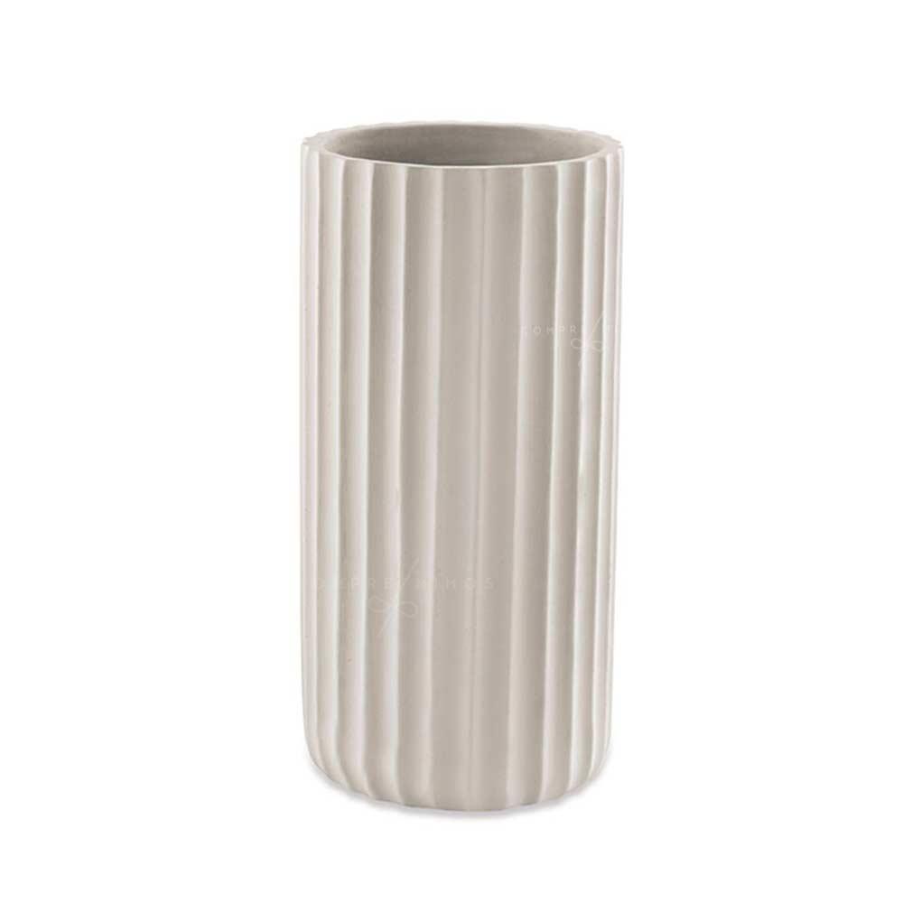 Vaso Canelado Rustic Off White em Cimento - 24x12cm