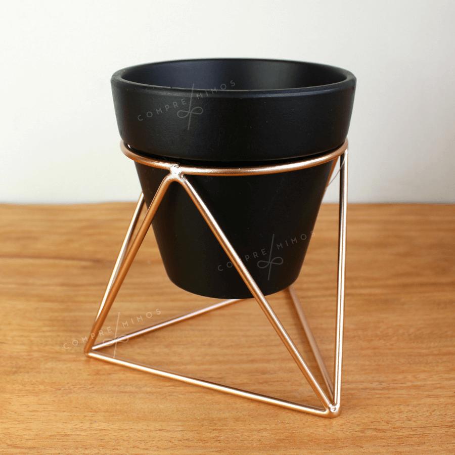 Vaso Cerâmica Com Suporte em Metal