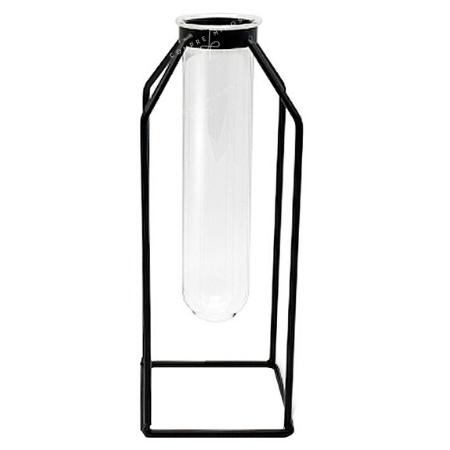 Vaso Decorado em Metal com Vidro - 8,5x15,5cm
