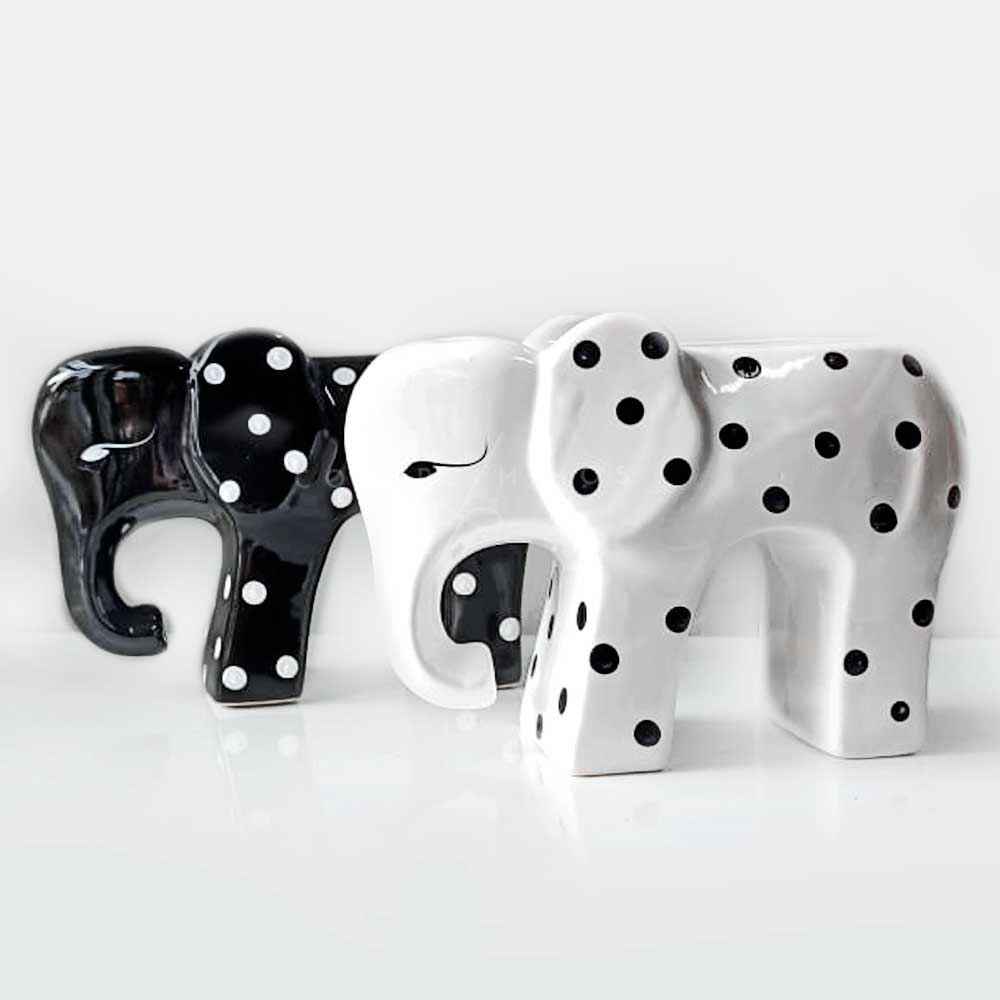 Vaso Elefante Poá - Preto ou Branco - UN