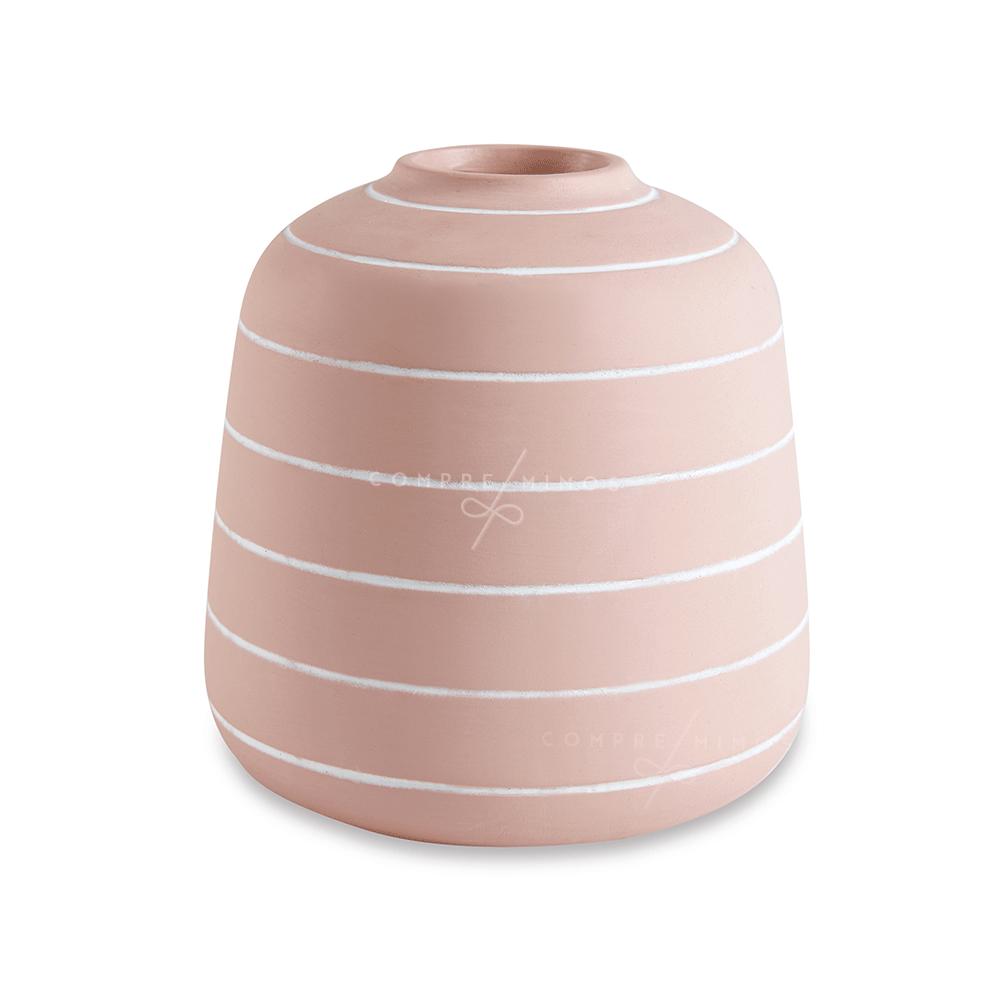 Vaso Listras Rosa Seco em Cimento - 18x16cm