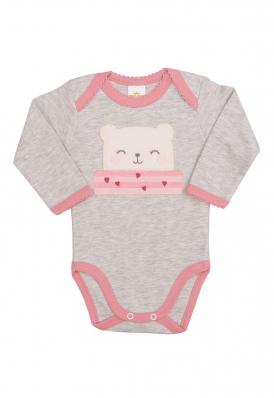 Body Best Club Baby cinza claro com bordado urso