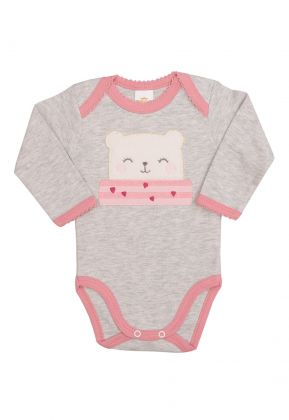 Body Best Club Baby cinza claro com bordado urso