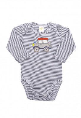 Body Best Club Baby listrado branco e azul marinho com bordado carro