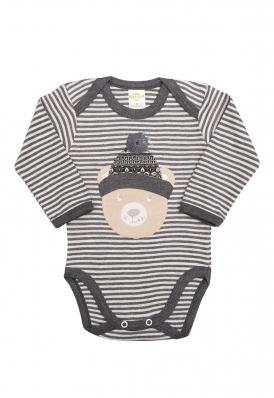 Body Best Club Baby listrado cinza claro e grafite com bordado urso