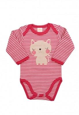 Body Best Club Baby listrado cinza claro e pink com bordado gato