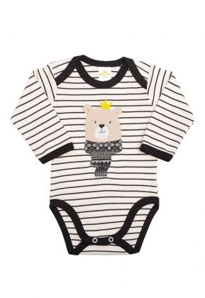 Body Best Club Baby listrado creme e preto com bordado urso
