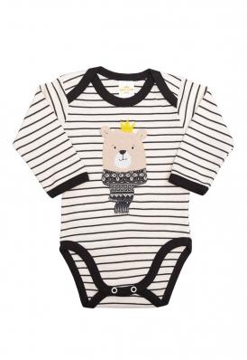 Body Best Club Baby listrado creme e preto com bordado urso