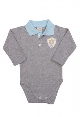 Body polo Best Club Baby cinza e azul bebê com bordado urso