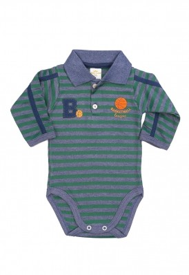 Body polo Best Club Baby listrado azul jeans e verde com bordado esporte