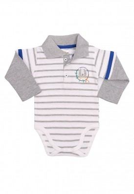 Body polo Best Club Baby listrado branco e cinza com bordado urso