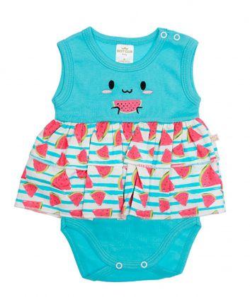 Body Vestido Best Club Baby azul turquesa e pink com bordado melancia