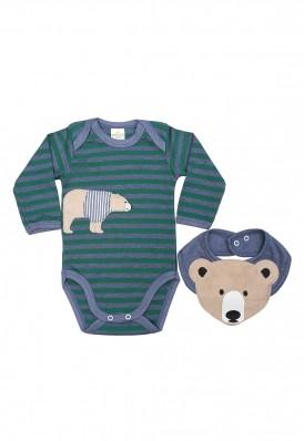 Conjunto body e babador Best Club Baby listrado azul jeans e verde com bordado urso