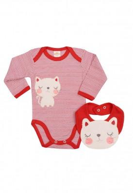 Conjunto body e babador Best Club Baby listrado branco e vermelho com bordado gato