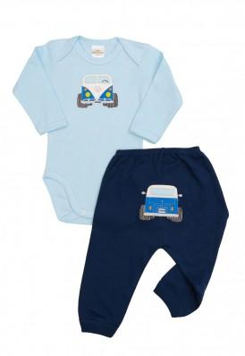 Conjunto body e calça Best Club Baby azul bebê e azul marinho com bordado carro
