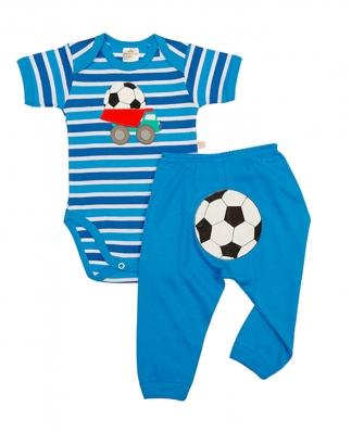 Conjunto body e calça Best Club Baby azul com bordado futebol