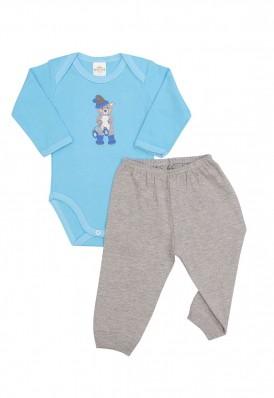 Conjunto body e calça Best Club Baby azul e cinza com bordado urso