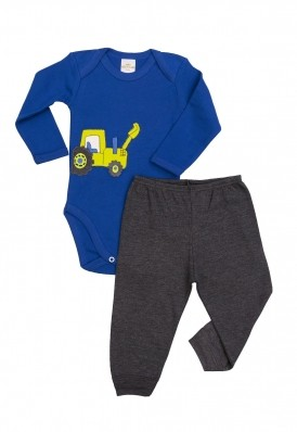Conjunto body e calça Best Club Baby azul e grafite com bordado carro