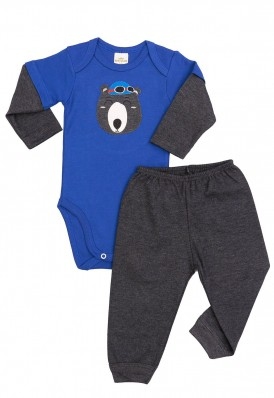 Conjunto body e calça Best Club Baby azul e grafite com bordado urso
