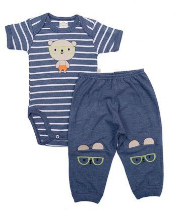 Conjunto body e calça Best Club Baby azul jeans com bordado urso