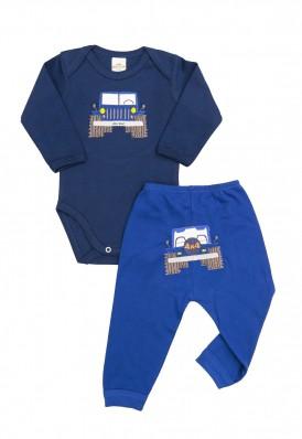 Conjunto body e calça Best Club Baby azul marinho e azul com bordado carro