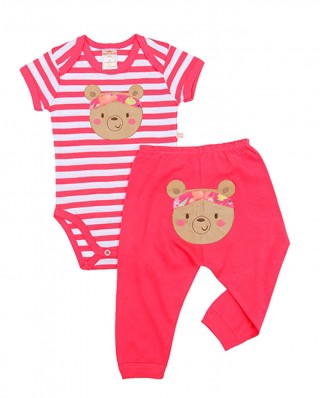Conjunto body e calça Best Club Baby branco e pink com bordado urso