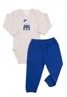 Conjunto body e calça Best Club Baby cinza claro e azul com bordado urso