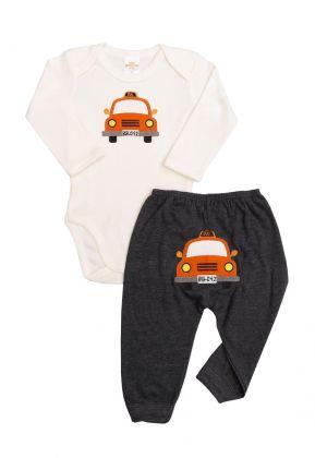 Conjunto body e calça Best Club Baby creme com grafite  com bordado carro