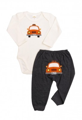 Conjunto body e calça Best Club Baby creme com grafite  com bordado carro
