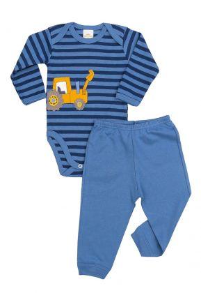 Conjunto body e calça Best Club Baby listrado azul e azul marinho com bordado carro