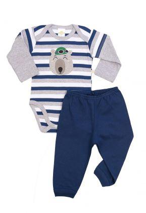 Conjunto body e calça Best Club Baby listrado azul marinho, branco e cinza com bordado urso
