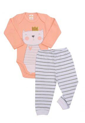 Conjunto body e calça Best Club Baby listrado branco com cinza e salmão com bordado gato