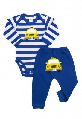 Conjunto body e calça Best Club Baby listrado branco e azul com bordado carro