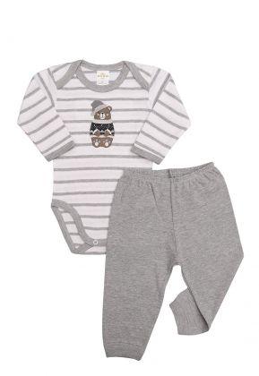 Conjunto body e calça Best Club Baby listrado cinza e branco com bordado urso