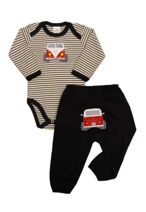 Conjunto body e calça Best Club Baby listrado creme e preto com bordado carro