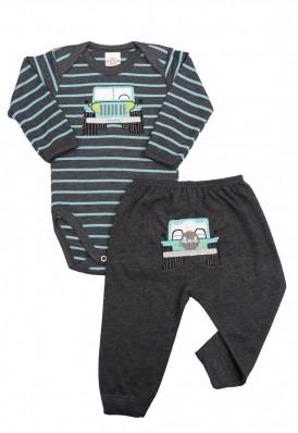 Conjunto body e calça Best Club Baby listrado grafite e azul turquesa com bordado carro