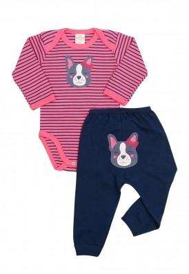 Conjunto body e calça Best Club Baby listrado rosa e azul marinho com bordado cachorro