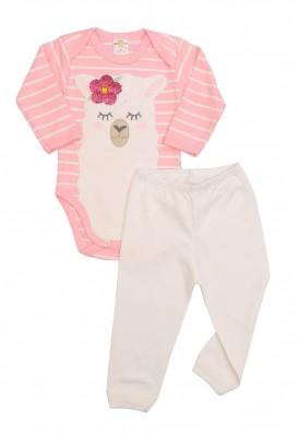 Conjunto body e calça Best Club Baby listrado rosa e creme com bordado lhama