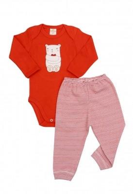 Conjunto body e calça Best Club Baby listrado vermelho e branco com bordado urso