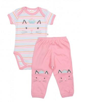Conjunto body e calça Best Club Baby rosa com bordado gato