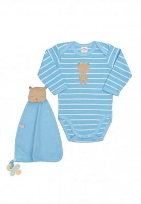Conjunto body e cheirinho Best Club Baby listrado azul com creme com bordado urso